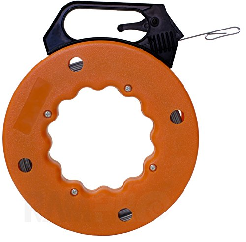 RamPro 100 Foot Reach, Spring-Steel Fish Tape Reel, with High Impact Case, for Electric or Communication Wire Puller