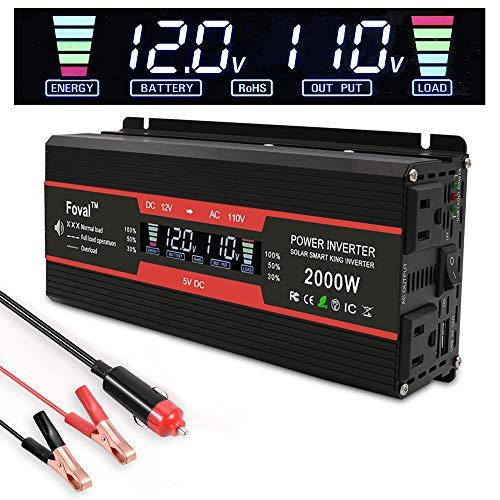 LVYUAN(リョクエン)インバーター 12V 定格1000W 最大2000W DC12V(直流)AC100V(交流)変換 カーインバ...