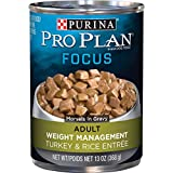 Purina Pro Plan Low Fat, Weight Management Gravy Wet Dog Food, FOCUS Weight Management Turkey & Rice Entree - (12) 13 oz. Cans