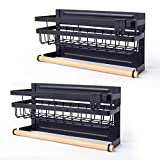 Sleclean Magnetic Spice Rack Organizer for Refrigerator, Pack of 2, paper towel holder magnetic,Refrigerator Organizers and Storage, Multi Use Kitchen Magnetic Shelf,11.8″x4.5″x6.3″,Black
