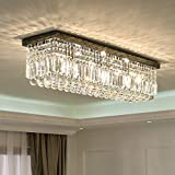 L40' Rectangular Raindrop Crystal Chandelier Lighting Modern Flush Mount Ceiling Light Fixture