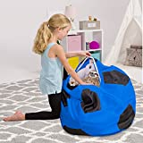 Posh Stuffable Kids Stuffed Animal Storage Bean Bag Chair Cover - Childrens Toy Organizer, X-Large-48in, Sports Soccer Ball Blue and Black