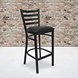 Flash Furniture 2 Pack HERCULES Series Black Ladder Back Metal Restaurant Barstool - Black Vinyl Seat