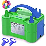 HeroFiber Electric Balloon Pump with 2 Balloons Tying Tools, Portable & Light-Weight, Dual Inflating Nozzles, Balloons Inflator Blower for Decoration, Party, Bulk, Balloon Arch, Balloon Column Stand