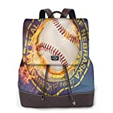 Yuanmeiju Womens Mochila de Cuero Sports Baseball Nebraska Shoulder Schoolbag Travel Bag Girls