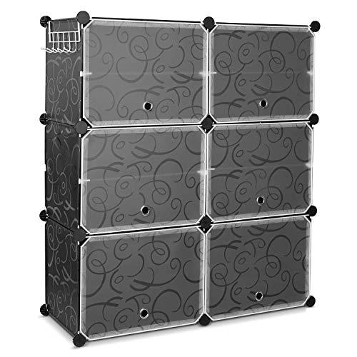 Homfa Armadio scarpiera Fai da Te in plastica a Forma di cubo, con Ganci, 10 Scomparti e 6 Porte, 80...