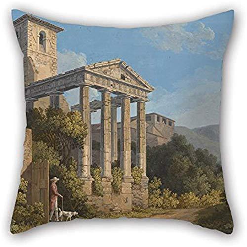 Fodere per cuscini di pittura a olio Jakob Philipp Hackert - Il tempio di Ercole a Cori vicino a Velletri, per ufficio, bambine, sala da pranzo, divano, lei, divano Cm (B