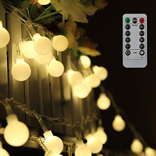 80 Leds Globe Lichterkette 10 Meter, Tomshine Warmweiße Kugel Lichterkette mit IR Fernbedienung, Batteriebetriebene/IP44 Wasserdicht