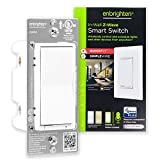 Enbrighten Z-Wave Plus Smart Light Switch with QuickFit and SimpleWire, 3-Way Ready, Works with Alexa, Google Assistant, ZWave Hub Required, Repeater/Range Extender, White & Light Almond, 46201