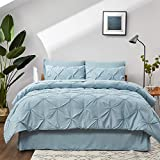 Bedsure Light Blue Queen Comforter Set - Bed in A Bag 8 Pieces, Pinch Pleat Bedding Comforter Set for Queen Bed with Sheets
