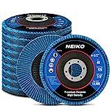Neiko 11257A High Density Jumbo Premium Zirconia Flap Disc | 4.5' x 7/8-Inch, 40 Grit, Bevel Type #29-10 Pack