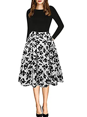 Note:Hand-wash and Machine washable, Dry Clean. Women's Vintage Patchwork Pockets Puffy Swing Casual Party Dress O-Neck,Ball Gown,Fit and Flare.This dress have pockets in side. Oxiuly Women's Vintage 1950's Classic Plaid Stripe Floral Flare Polka Dot...