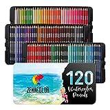120 Crayons Aquarellables, Numérotés Zenacolor - Set de Crayon de Couleurs...