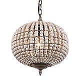 Newrays Wood Bead Chandelier Pendant Light Gray White Finishing Retro Vintage Antique Rustic Kitchen Ceiling Lamp Light Fixtures (Globe)