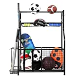 Snail Garage Storage System Sports Equipment Organizer with Baskets and Hooks, Sports Gear and Ball Storage Rack for Garages, Playgroup, Gym and Schools, Powder Coated Steel, Black