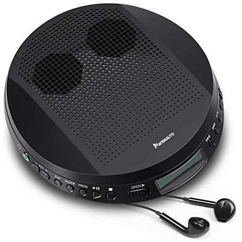 NAVISKAUTO Tragbarer CD Player Discman CD-Walkman Lautsprecher Skip Schutz für CD MP3 WMA CD-R CD-RW