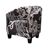 CALIDAKA Club Chair Slipcover, Stretch Spandex Removable Floral Printed Armchair Covers, Sofa Cover Furniture Protector Home Decor for Living Room Arm Chair Cover Couch Covers