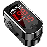 Pulse Oximeter Fingertip, ANKOVO Blood Oxygen Saturation Monitor with Pulse Rate, Heart Rate Monitor, Portable...