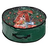 """ProPik Wreath Storage Bag 30', Polyester Tear Resistant Fabric for Holiday Easy Storage with Clear Window Featuring Heavy Handles and Transparent Card Slot 30"""" X 30"""" X 8"""" (Green)"""