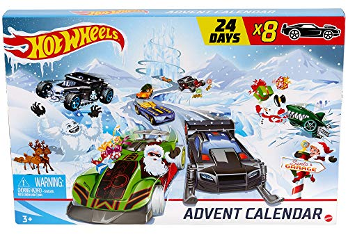 Hot Wheels - Calendario dell'Avvento 2020, con 24 Sorprese da Scoprire, Include 8 Macchinine, Giocattolo per Bambini 3+ Anni, GJK02