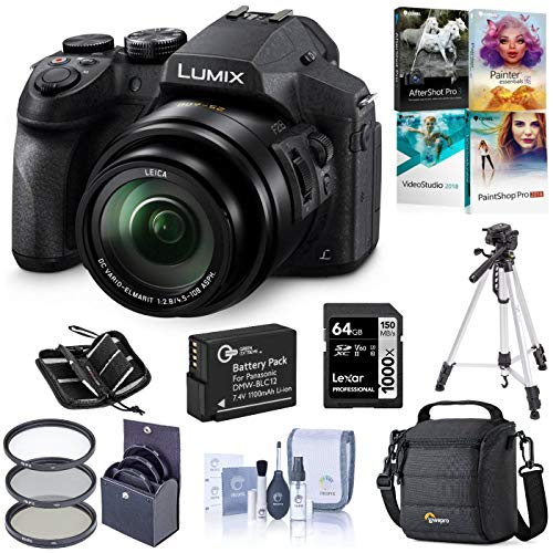 Panasonic Lumix DMC-FZ300 Digital Camera, Bundle with Bag, Filter, Battery, 64GB SD Card + Case, Tripod, PC Software, Cleaning Kit