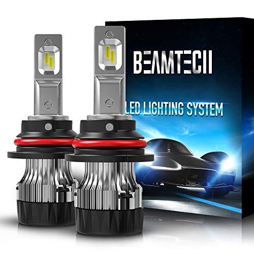 BEAMTECH 9007 LED Bulb,30mm Heatsink Base CSP Chips 10000 Lumens Hi/Lo 6500K Xenon White Extremely Super Bright Conversion Kit Low Fog Light