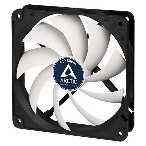 ARCTIC F12 Silent - 120 mm Case Fan, Extra quiet motor, Computer, Almost inaudible, Push- or Pull Configuration, Fan Speed: 800 RPM - Black/White