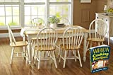 Oak Dining Set a 7 Piece Traditional White and Natural Wooden Dinette Table with 6 Chairs Which Is the Best Kitchen or Living Room Solution Guaranteed Country Rustic Room Furniture Sets for 6 on Sale
