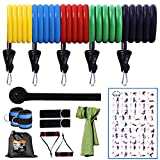 FASTSPOK Resistance Bands Set-14 Pcs, Stackable Up to 150lbs Exercise Bands for Men with Handles, Legs Ankle Strapes, Door Anchor, Towel-Home Workout Bands Weights Set for Full Body Training