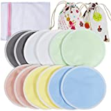 Lictin 12 pcs (6 Paris) Nursing Pads Set Nursing Pads Washable Organic Bamboo Nursing Pads Reusable Nursing Pads Washable Soft Absorbent Nursing Pads with 1 Laundry Bag and 2 Organza Bags