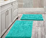 Bathroom Rugs Mat 20' x 30' Set of 2 Turquoise Luxury Chenille Bath Mat Super Absorbent Bath Rug Machine Washable Perfect Plush Carpet for Shower, Bath Room, Bedroom and Kitchen (20' x 30', Turquoise)