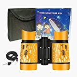 Binoculars for Kids, Boys Girls 4x30 High-Resolution Real Optics Rubber Binocular Toys Shockproof Folding Small Telescope for Travel, Camping, Bird Watching, Outdoor Play - Best Gifts (Orange)