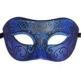 XVEVINA Mask Funny Mens Masquerade Mask Prom Mardi Gras Venetain (Blue/Black)
