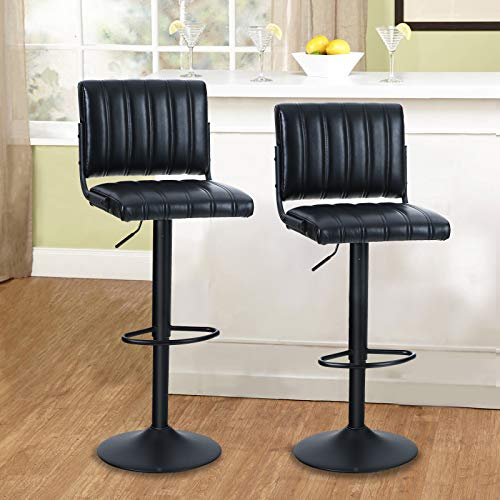 MAISON ARTS Swivel Bar Stools Set of 2 for Kitchen Counter Adjustable Barstools with Back Counter Height Modern Bar Chairs for Kitchen Island Water Resistant Faux Leather, 300 LBS Capacity, Black