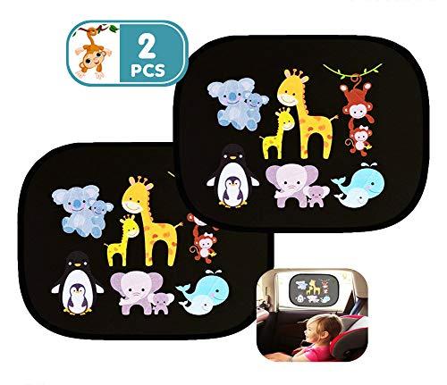 2 Stück Auto Sonnenschutz - Autofenster Sonnenschutz für Kinder Baby Haustier mit UV Schutz/Blendschutz, Auto Sonnenblende für Kinder mit Selbsthaftende für Seitenscheibe Fenster Zubehör Schwarz