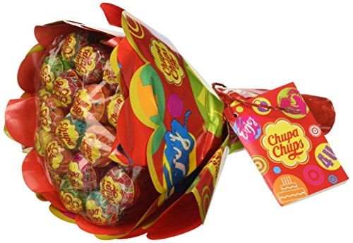 Chupa Chups Lecca Lecca Flower Bouquet, Lollipop Frutti Assortiti Gusto Limone, Arancia, Fragola, Mela, Anguria e Ciliegia, 19 Lollipops Monopezzi