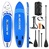 MaxKare Stand Up Paddle Board Inflatable SUP W Stand-up Paddle Board Accessories Backpack Paddle Leash Pump Non-Slip Deck ISUP Fishing Yoga Rigid Solid 10'× 30' ×6'' Inches Thick Adult & Youth & Kid