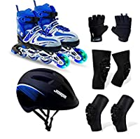 This Kit includes appropriate protective gear: Palm Protector, Bolster elbow guard, helmet, Bolster knee guard and pair of inline shoe skates including adjustable key.