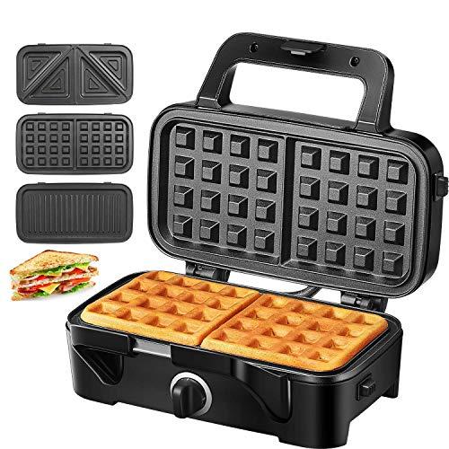 Sandwichmaker Sandwichtoaster Waffeleisen 1200W Temperaturregelung mit 3 Abnehmbare Platten für Toast Waffeln Fleisch, Antihaftbeschichtung mitLED-Anzeigeleuchten,CoolTouch-Griff, Schwarz, Decen
