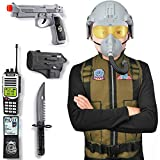 Kids Jet Fighter Air Pilot Costume Deluxe Dress Up Role Play Set with Helmet, Toy Gun, Accessories (9 Pcs)