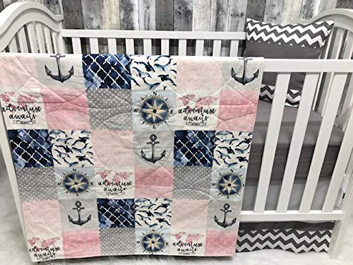Baby Girl Chevron, Baby Bedding, Nautical, Sea, Anchor, Crib Bedding, Nursery Room, Babylooms