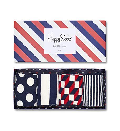 Happy Socks Calze, Blu (Stripe Gift Box), 36-40 EU (Pacco da 4) Donna