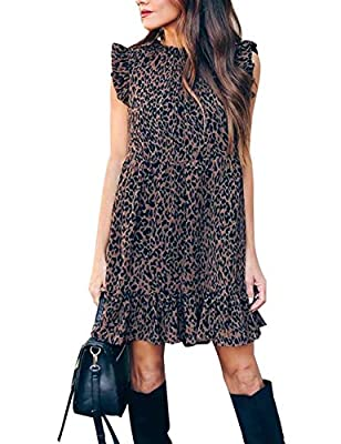 Material: Cotton and Polyester. Lightweigh and flowy material, very wearable that feel against the skin. Features: This cute shift dress features the beautiful lepard pattern and the slouchy ruffle swing style. It's perfect for casual and dressed up ...