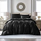 Vonty 3-Pieces Satin Duvet Cover Set Full/Queen Size Black Silk Like Satin Bedding Set with Zipper Closure (1 Duvet Cover + 2 Pillowcases)