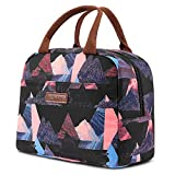 LOKASS Lunch Bag Cooler Bag Women Tote Bag Insulated Lunch Box Water-resistant Thermal Lunch Bag Soft Liner Lunch Bags for women/Picnic/Boating/Beach/Fishing/Work (Black+Triangle)