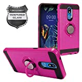 Z-GEN - for LG K40 LM-X420, LG Solo LTE L423DL - Hybrid Phone Case w/Ring Stand + Tempered Glass Screen Protector - RS2 Hot Pink