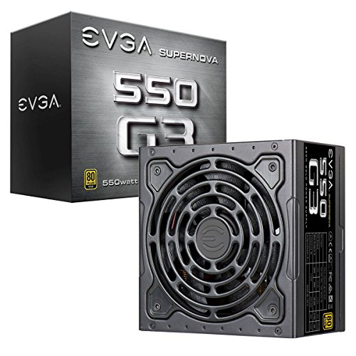 EEVGA SuperNOVA 550 G3, 80+ GOLD 550W, totally modular, Eco Mode with new FDB fan, 7 year warranty, includes Power On Self Tester power supply, 220-G3-0550-Y2 power supply