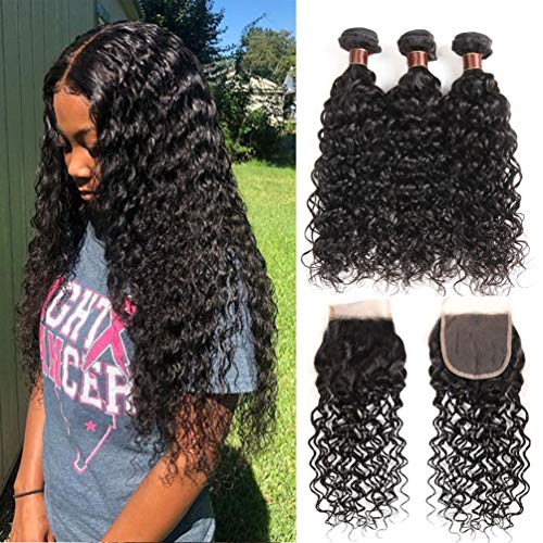 8A+ Brazilian Water Wave Bundles with Closure (12 14 16+10) 100% Virgin Human hair 3 Bundles With Closure Free Part Unprocessed Wet and Wavy Human Hair Extensions Natural Color