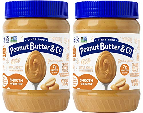 Peanut Butter & Co. Smooth Operator Peanut Butter, Non-GMO Project Verified, Gluten Free, Vegan, 16 Ounce (Pack of 2)