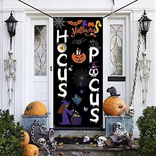 WEBSUN Halloween Door Decorations Hocus Pocus Door Cover, Large Fabric Halloween Party Decorations Sign for Front Door, Porch Decorations, Halloween Party Supplies Indoor Outdoor